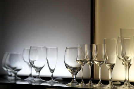 irradiation: Unusual lighting glasses of wine, design bar