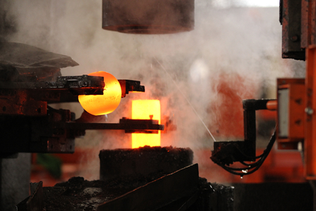 forging: automatic hot stamping process of grinding balls of round billet