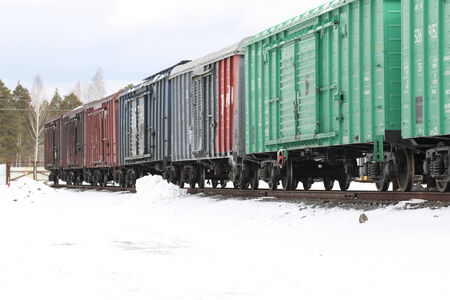 impasse: covered wagons in the train at an impasse on a production warehouse
