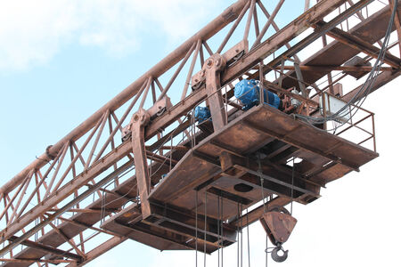 bearing: type of bearing metal structures of gantry crane against the blue sky Stock Photo