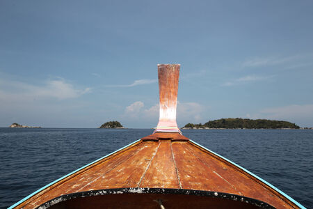 shallop: Traditional Thai boat to travel by sea and fishing Stock Photo