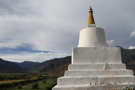 buddhist stupa: Symbol of Buddhism ancient Buddhist stupa on the hill