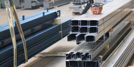 further: Various elements of steel structures for further assembly Stock Photo