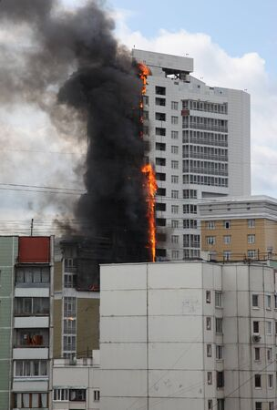 burning multi-storey building, Moscow, Russia, disaster