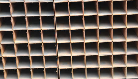 building structures: metal profiles square foundation for building structures, steel Stock Photo
