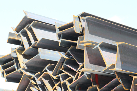 metal structure: Metal profiles beam foundation for building structures, steel