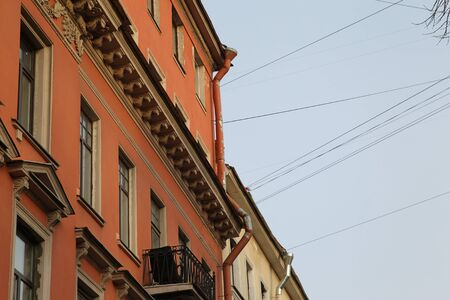plurality: House orange color with a plurality of wires Stock Photo