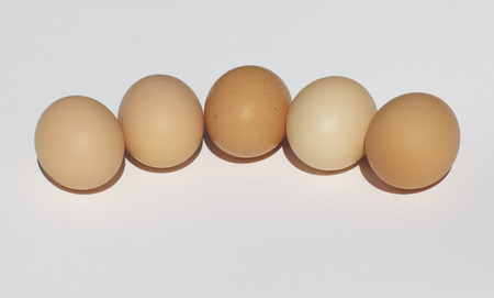 perfection: Fresh chicken eggs on a white background as a perfection of form Stock Photo