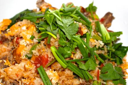repast: National Thai dish of rice with chicken with herbs