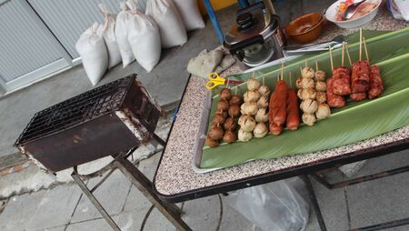 repast: Ready kebabs grilled as part of traditional Thai cuisine Stock Photo