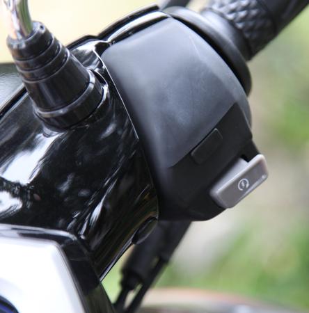 controls: Main controls on the steering wheel motorbike Stock Photo