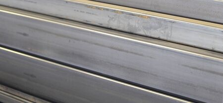 metal structure: metal profiles channel foundation for building structures steel Stock Photo