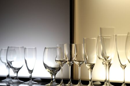 irradiation: Unusual lighting glasses of wine design bar