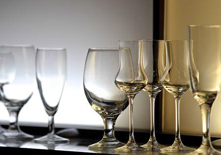 Unusual lighting glasses of wine, design bar