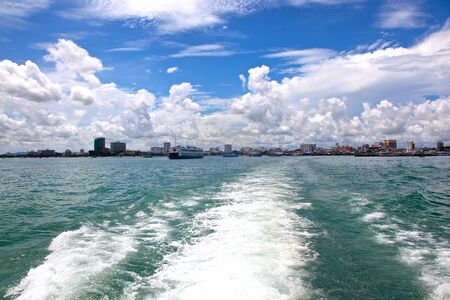 next horizon: Pattaya on the horizon, the view from the boat Stock Photo
