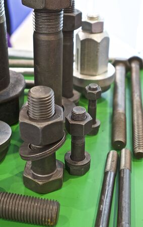 hardware: Set of hardware products with thread, fasteners Stock Photo