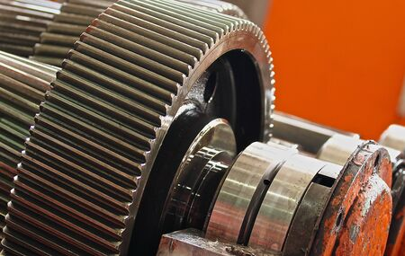gearing: The gear train in the gear rolling mill Stock Photo