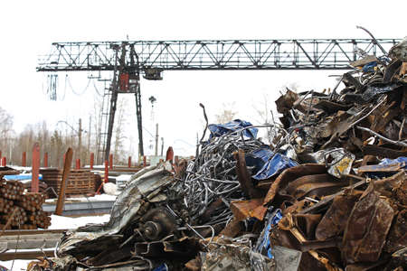 reclamation: large pile of scrap metal for further processing