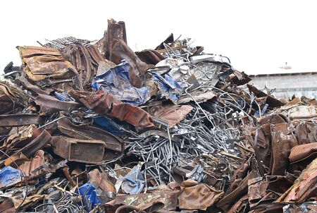 large pile of scrap metal for further processing