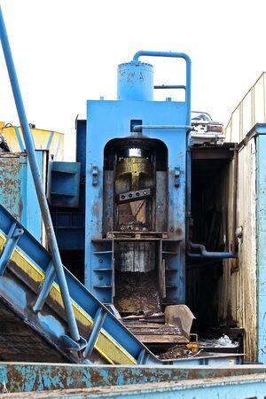 metal scrap: powerful hydraulic shears for cutting metal scrap