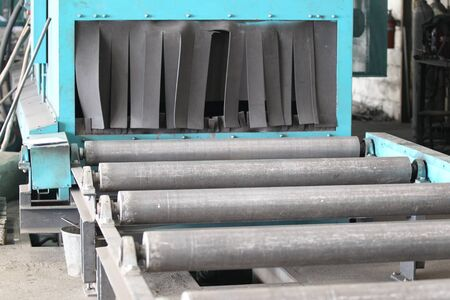 rollers: system of rollers for feeding and movement of various metal rolling Stock Photo