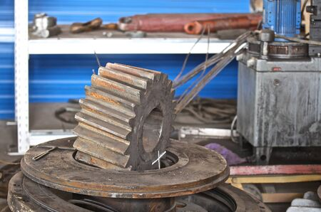 various spare parts for the repair of presses and other machines Stock Photo