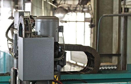 elements of the machine for complex shape cutting of sheet metal Stock Photo