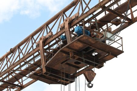 metal structure: type of bearing metal structures of gantry crane against the blue sky Stock Photo