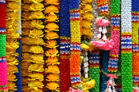 Traditional Thai garlands of colorful flowers, Thailand, Southeast Asia