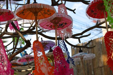 Decorative Chinese umbrellas in composition, Thailand, south east asia