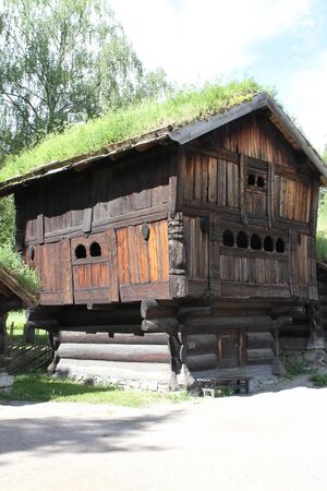 hereditary: Traditional ancient wooden buildings, Norway, Scandinavia, Northern Europe Stock Photo