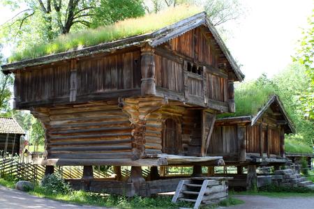 Traditional ancient wooden buildings, Norway, Scandinavia, Northern Europe 版權商用圖片 - 81278081