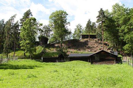 Traditional ancient wooden buildings, Norway, Scandinavia, Northern Europe 版權商用圖片 - 81278090