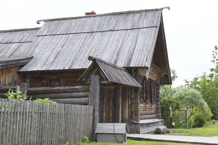 premises: Old Russian wooden houses and structures, Russia Stock Photo