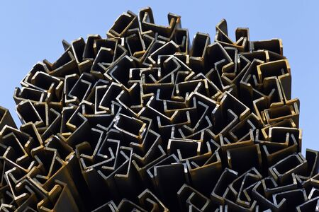 storehouse: Metal profile channel in packs at the warehouse of metal products, Russia
