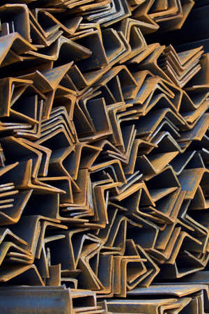 storage: Metal profile angle in packs at the warehouse of metal products, Russia