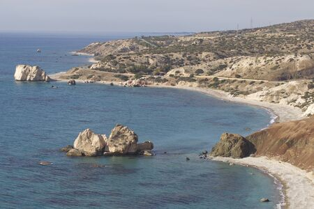 Picturesque winter seascape on the island of Cyprus 版權商用圖片