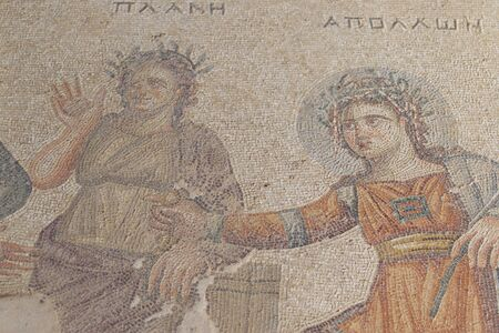 Ancient mosaic on the floor as the art of ancient Greek civilization