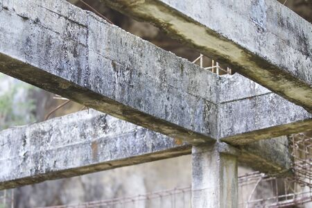 Old abandoned building reinforced concrete structures in the jungle Stock Photo