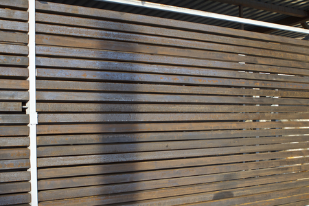 Type of metal fence from a lengthy profile, warehouse Stock Photo