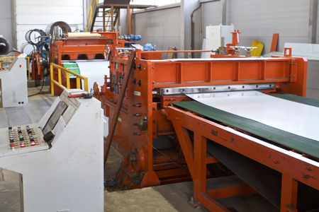 Elements of various sections of the galvanized steel processing line in rolls, manufacturing Banco de Imagens