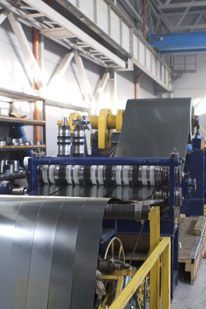 Elements of various sections of the galvanized steel processing line in rolls, manufacturing