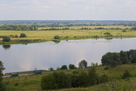 View of the Oka River near the village of Konstantinovo, Ryazan Region, Russia Standard-Bild - 111287779
