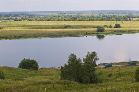 View of the Oka River near the village of Konstantinovo, Ryazan Region, Russia Standard-Bild - 111287780