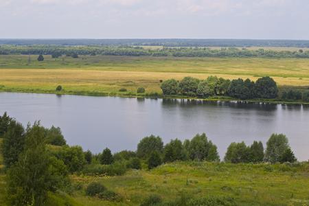 View of the Oka River near the village of Konstantinovo, Ryazan Region, Russia Standard-Bild - 111287797