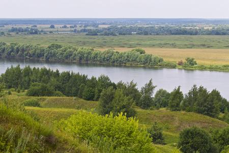 View of the Oka River near the village of Konstantinovo, Ryazan Region, Russia Standard-Bild - 111287837