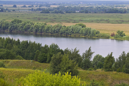 View of the Oka River near the village of Konstantinovo, Ryazan Region, Russia Standard-Bild - 111287839