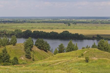 View of the Oka River near the village of Konstantinovo, Ryazan Region, Russia Standard-Bild - 111287728