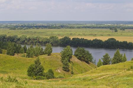 View of the Oka River near the village of Konstantinovo, Ryazan Region, Russia Standard-Bild - 111287737