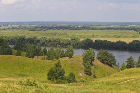 View of the Oka River near the village of Konstantinovo, Ryazan Region, Russia Standard-Bild - 111287738